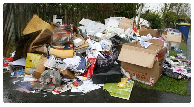 Pile of household rubbish awaiting collection