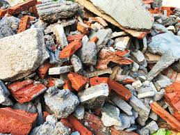 Pile of loose bricks ready for collection